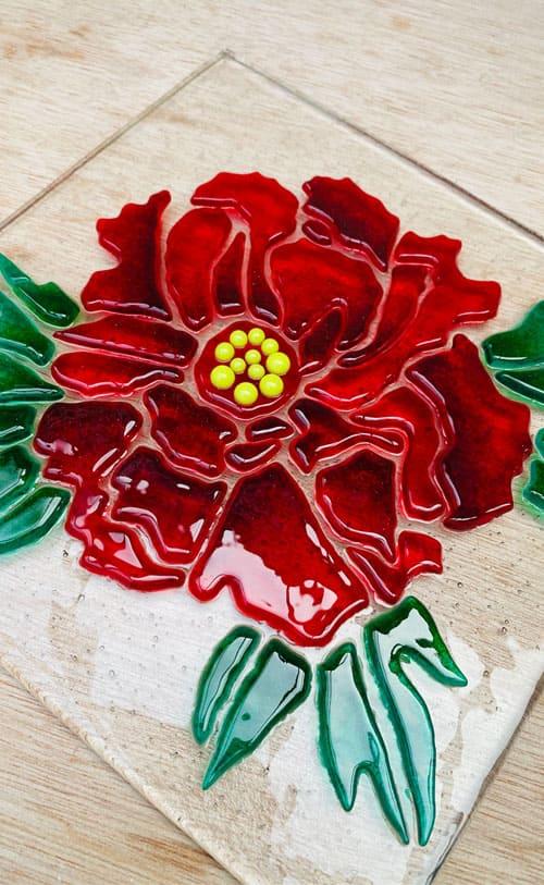 エクステリア用ステンドグラス 薔薇