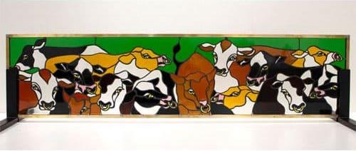 ステンドグラス作品 農場の牛パネル
