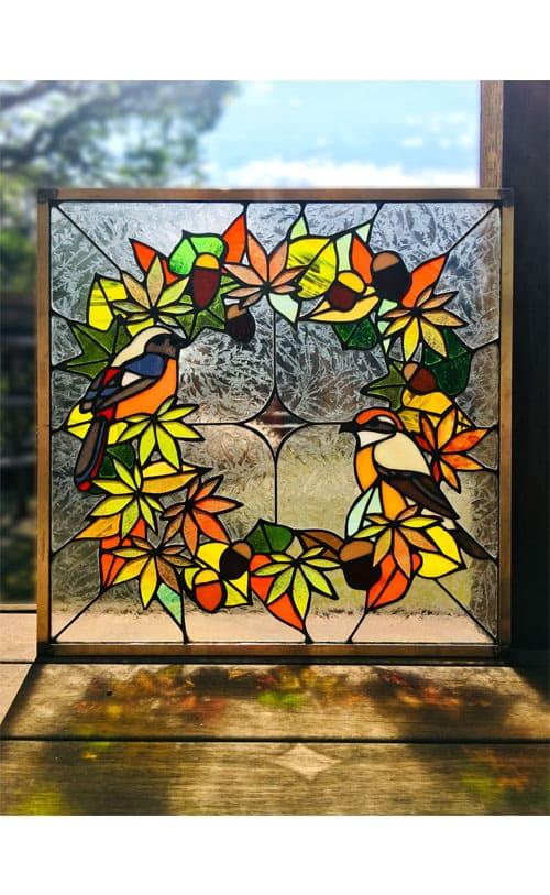 ステンドグラス作品 秋のリースパネル1
