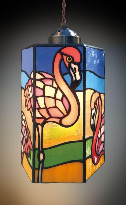 ステンドグラス作品 フラミンゴ1