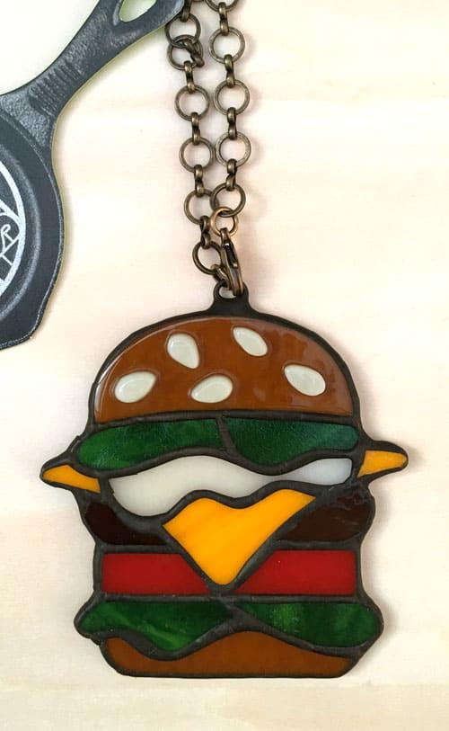 ステンドグラス作品 ハンバーガーのチャーム1