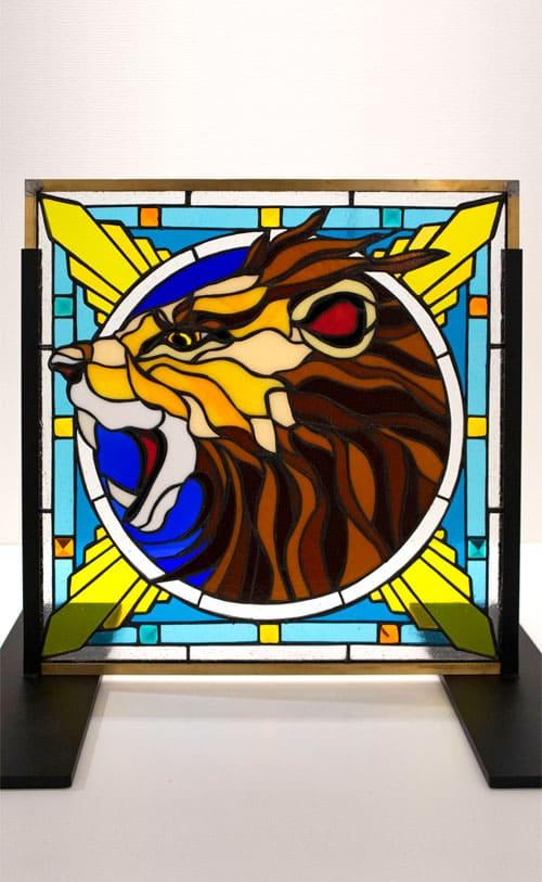 ステンドグラス作品 吠えるライオン1