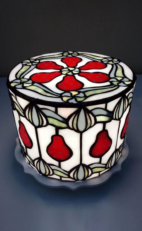 ステンドグラス作品 ストロベリーケーキのライト1
