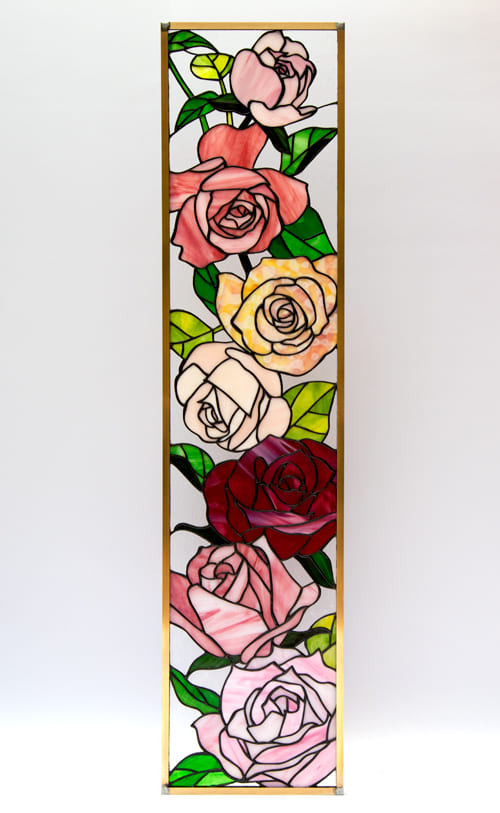 ステンドグラス作品 薔薇のパネル1