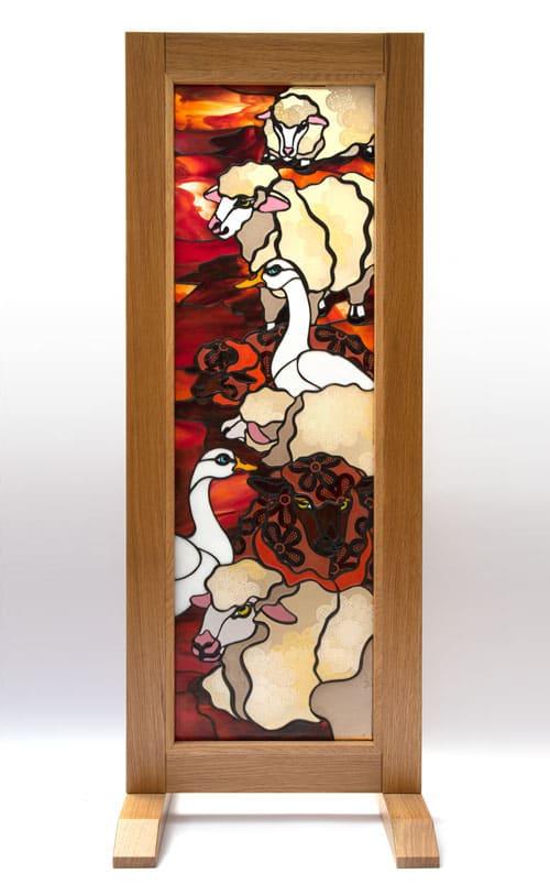 ステンドグラス作品 羊とガチョウのパネル1