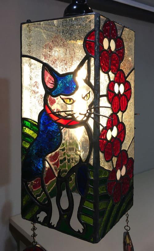 ステンドグラス作品 和猫のライト1