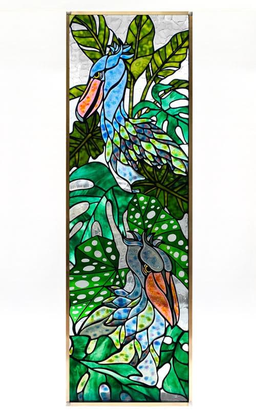 ステンドグラス作品 ハシビロコウのパネル1