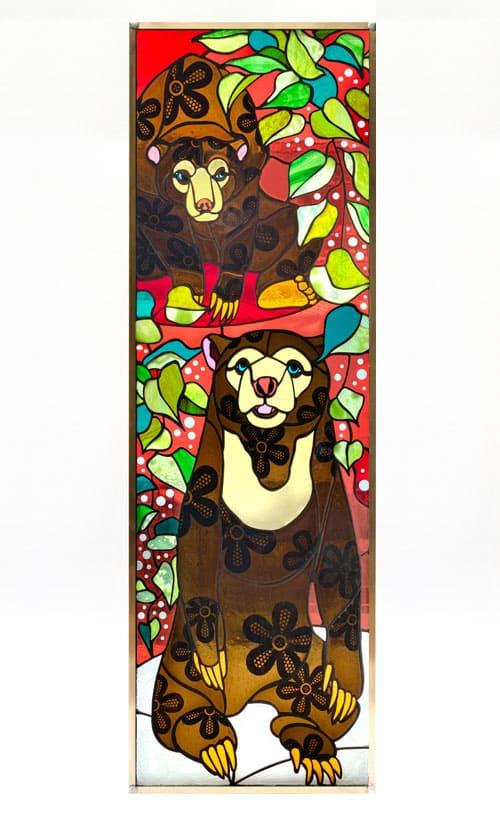 ステンドグラス作品 マレーグマのパネル